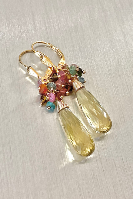 Lemon Quartz & Tourmaline Earrings