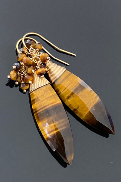 Faceted Marquise cut Tiger Eye Earrings