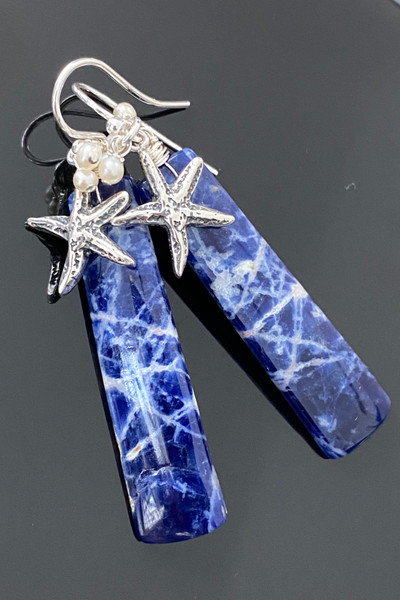 Sodalite Rectangles with Sterling Starfish & Pearls