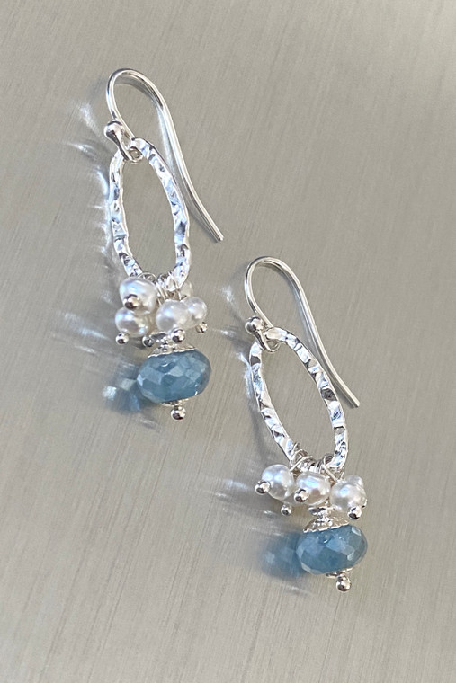 Mystic Blue Quartz & Pearls