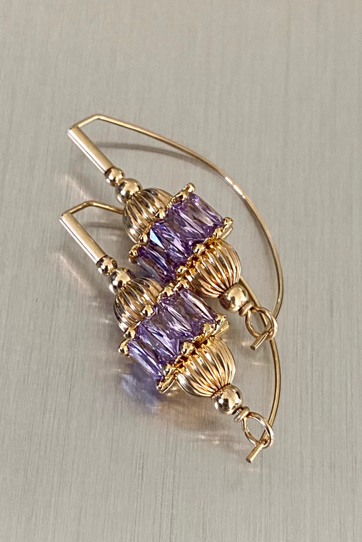 Lavender CZ Signature Earring in gold