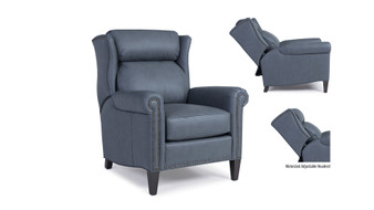 Smith Brothers 537 Leather Power Reclining Chair w/ Headrest and Ottoman