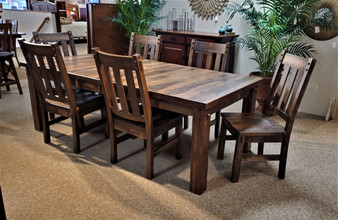 Amish Rustic Leg Table Rough Sawn Brown Maple Quality American Made Furniture