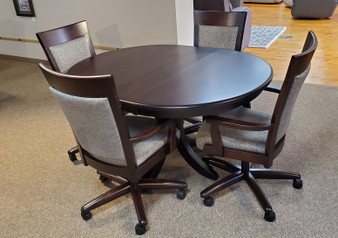 Amish Kountry Knob Maple Caster Chairs Table Set