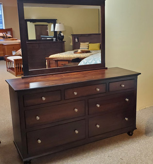 """Amish Superior """"Design Your Own""""  Maple 9 Drawer Dresser and Mirror"""