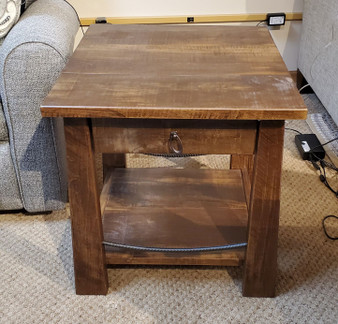 Amish Rough Sawn Maple end table with metal accent