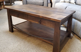 Amish Rough Sawn Maple coffee table with metal accent