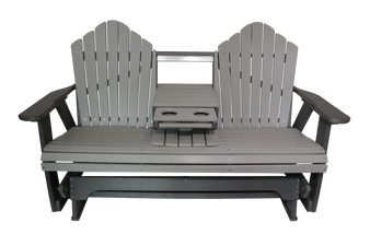 Amish Gliding Loveseat with Dropdown Console