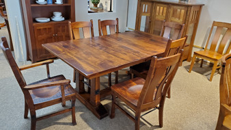Amish Hermies Distressed Trestle Table