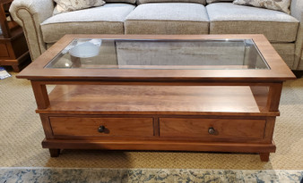 amish glass and cherry coffee table solid american hardwood handcrafted