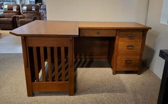 Amish Quarter Sawn Oak L Desk Solid Wood Construction American Made