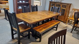 Amish rustic rough sawn maple trestle table two tone table chairs and bench quality