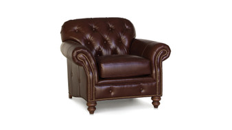 Smith Brothers 396 Button Tufted Chair Traditional Leather Quality