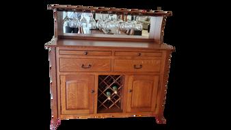 Amish Quartersawn Oak Wine Buffet