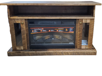 Amish Rough Sawn Fireplace TV Stand