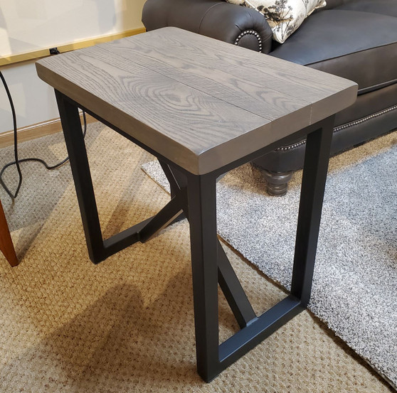 Amish Roughsawn Oak Planked Chairside Table with Metal Base