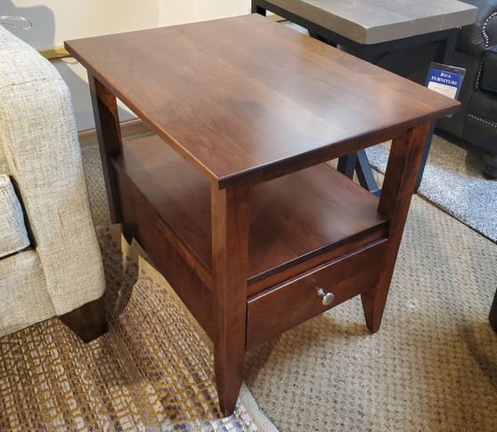 Amish end table made out of cherry. High quality, high end furniture