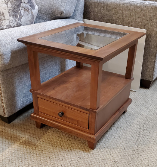 Amish Cherry and Glass End Table in solid cherry hardwood. Heirloom quality living room furniture