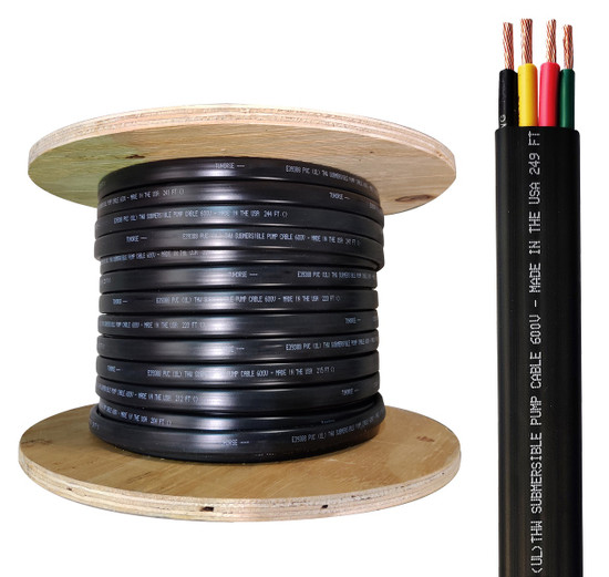 250 feet reel, 8/3 w/ #10 Ground, flat HD copper submersible pump wire / cable, UL listed