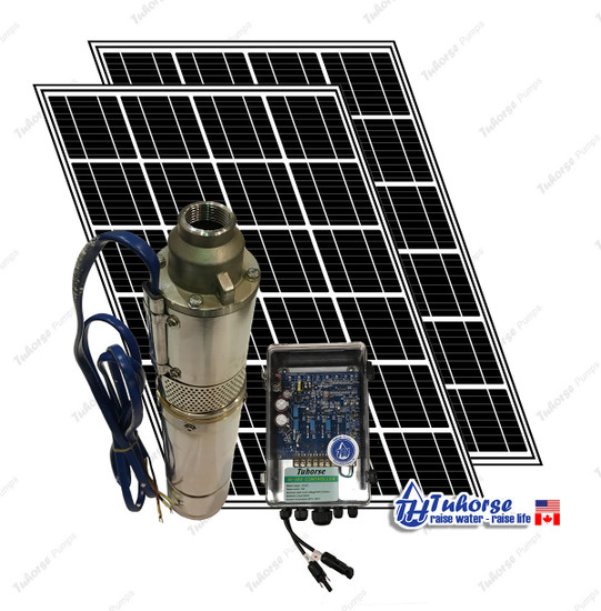 "4"" 500W Solar Submersible Deep Well Pump,  560W Solar Panel, 120 feet Cable Complete Kit"