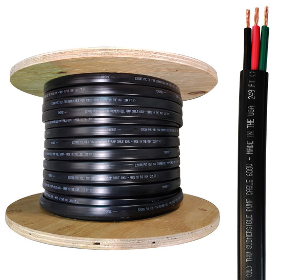 250 ft. reel, 12/2 w/ Ground, flat HD copper submersible pump wire, UL listed