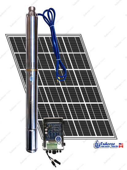 """Tuhorse 2"""" 370W Solar Submersible Deep Well Pump, 1x 280W Solar Panel, 80 feet Cable Complete Kit (2THS05S36V370K1P)"""