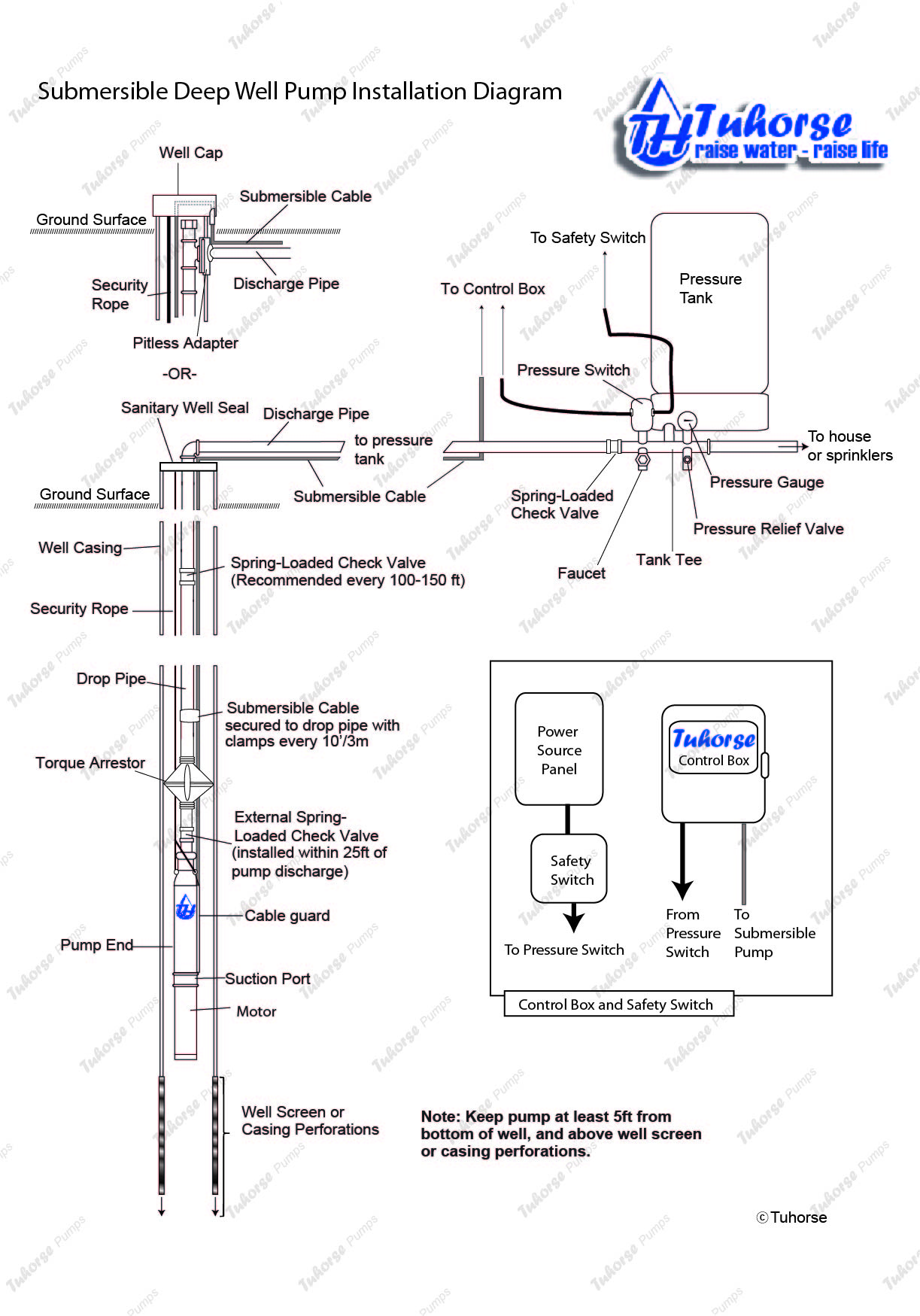 Submersible well pump installation diagram - General installation featuring well casing, well pump, torque arrestor, control box, pressure tank and switches