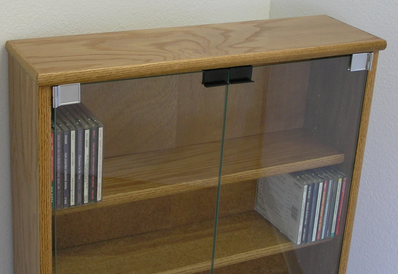 Dvd Cd Bookcase With Glass Doors 27 Quot 72 Quot High Oak Maple Usa Made