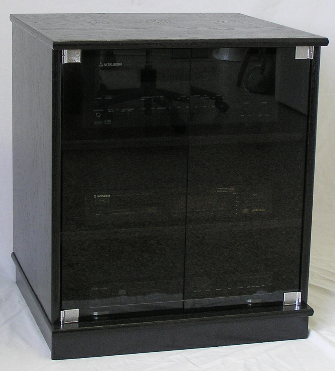 Of Small Black Oak Tv Stand With Gray Tint Glass Doors Entertainment