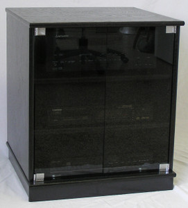 Full front view of  small black oak TV stand with gray tint glass doors entertainment center stereo cabinet 27 Inches high. The cabinet ships with black door hardware.  (888) 850-5589 http://www.decibeldesigns.com