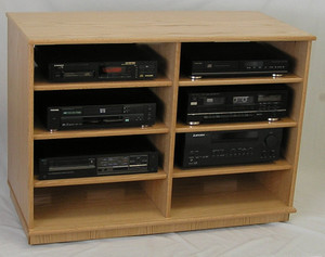 Wooden TV flat component stand 33 inches high. Perfect for wide screen TV's. Holds a large home theater system on 6 dual wheel casters. Shown in natural oak satin finish. Maple and many other finishes available. Glass doors too. http://decibeldesigns.com (888) 850-5589 International (805) 331-8506 call or text email info@decibeldesigns.com