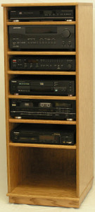 "Front detail view. Stereo Rack Cabinet for Modern Components 53""H  shown in light brown oak.  http://www.decibeldesigns.com  telephone 888.850.5589"