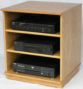 Stereo rack 27 inches high shown in light brown oak. http://www.decibeldesigns.com 888.850.5589