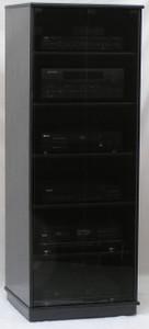 Audio rack with glass doors. Shown in black oak finish with full length gray tint tempered glass doors. All black door hardware. decibeldesigns.com  888.850.5589