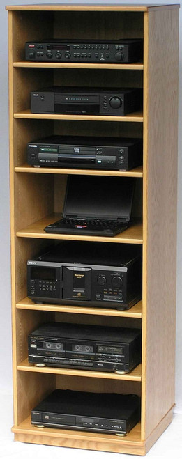 "Entertainment center is 73"" high and come with 6 adjustable shelves. Glass doors and extra shelves are available."
