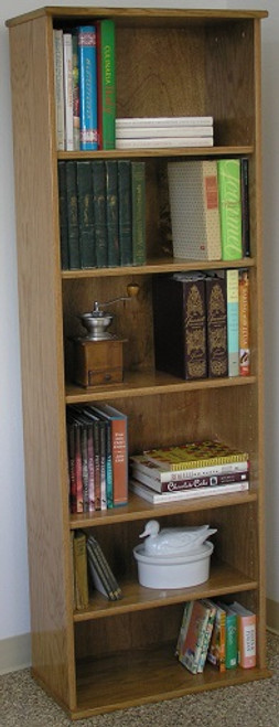 "Book shelf 72""H with five adjustable shelves. Light brown oak finish shown. Glass doors available. Stores hardbound books, LP's, and lazer discs. 23"" wide all formaldehyde free plywood construction. Available in Oak or Maple unfinished or with standard or custom finishes.Simple assembly. Matching CD DVD cabinets and stereo cabinets. We're here to create quality for you! decibeldesigns.com 805.331.8506"