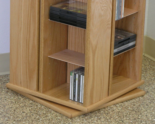 Swivel DVD Storage Cabinet 30 Inches High Shown In Natural Oak Finish