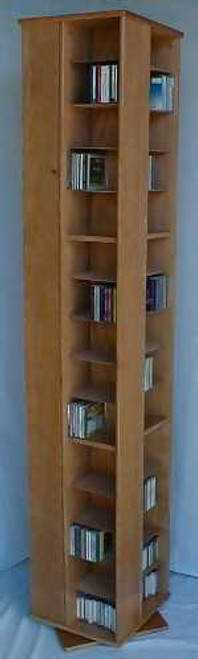 Dvd swivel bookcase tower has 56 adjustable shelves for paperbacks, video games, and CD's. Heavy duty swivel bearing on large wood base for greatest stability. A very efficient way to store a large collection. 888.850.5589 decibeldesigns.com