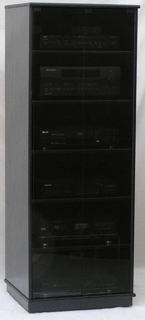 Audio rack with glass doors. Shown in black oak finish with full length gray tint tempered glass doors. All black door hardware. decibeldesigns.com  888.850.5589