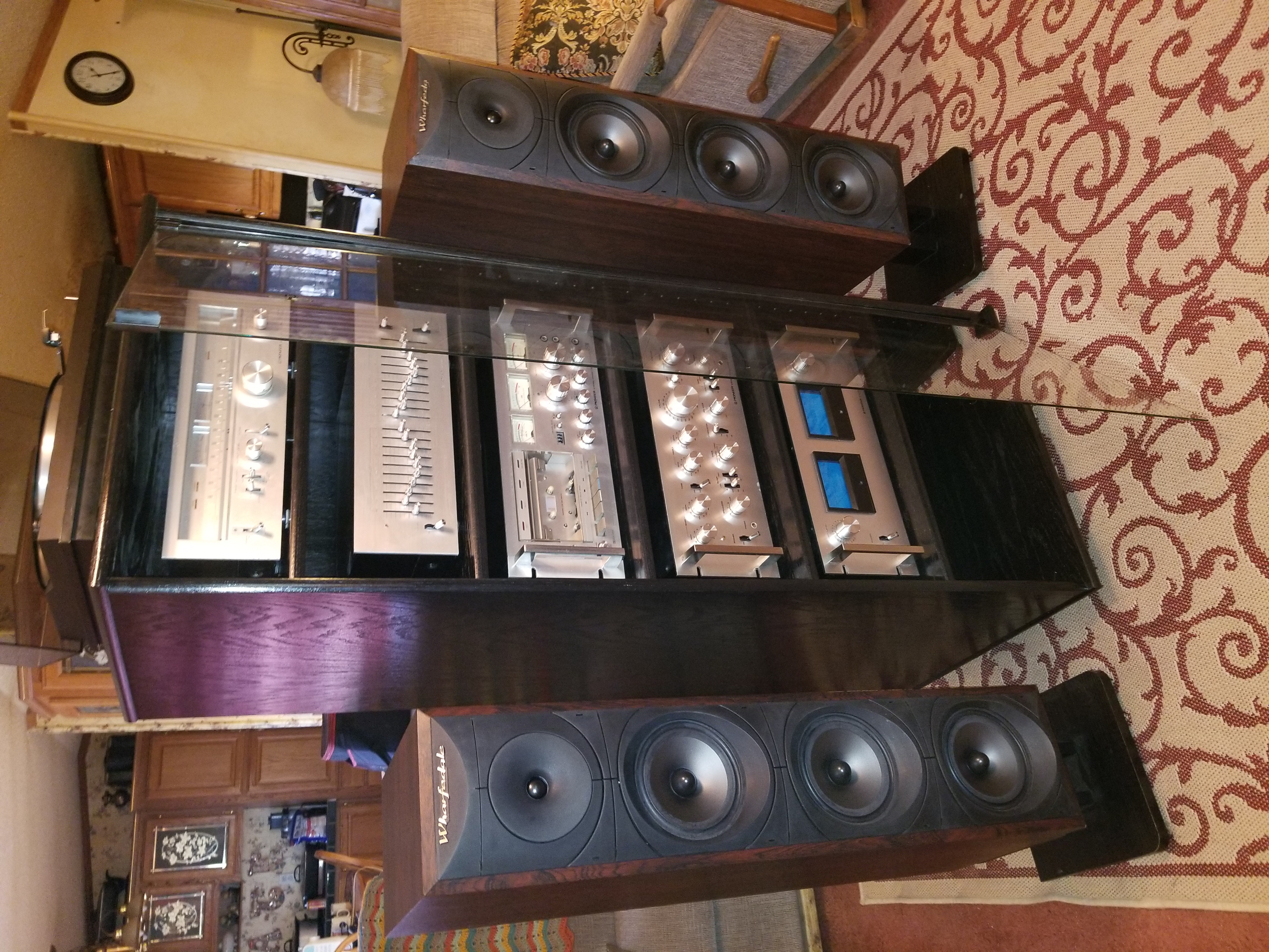 72 inch high black oak with clear glass door entertainment center all vintage Sony components!
