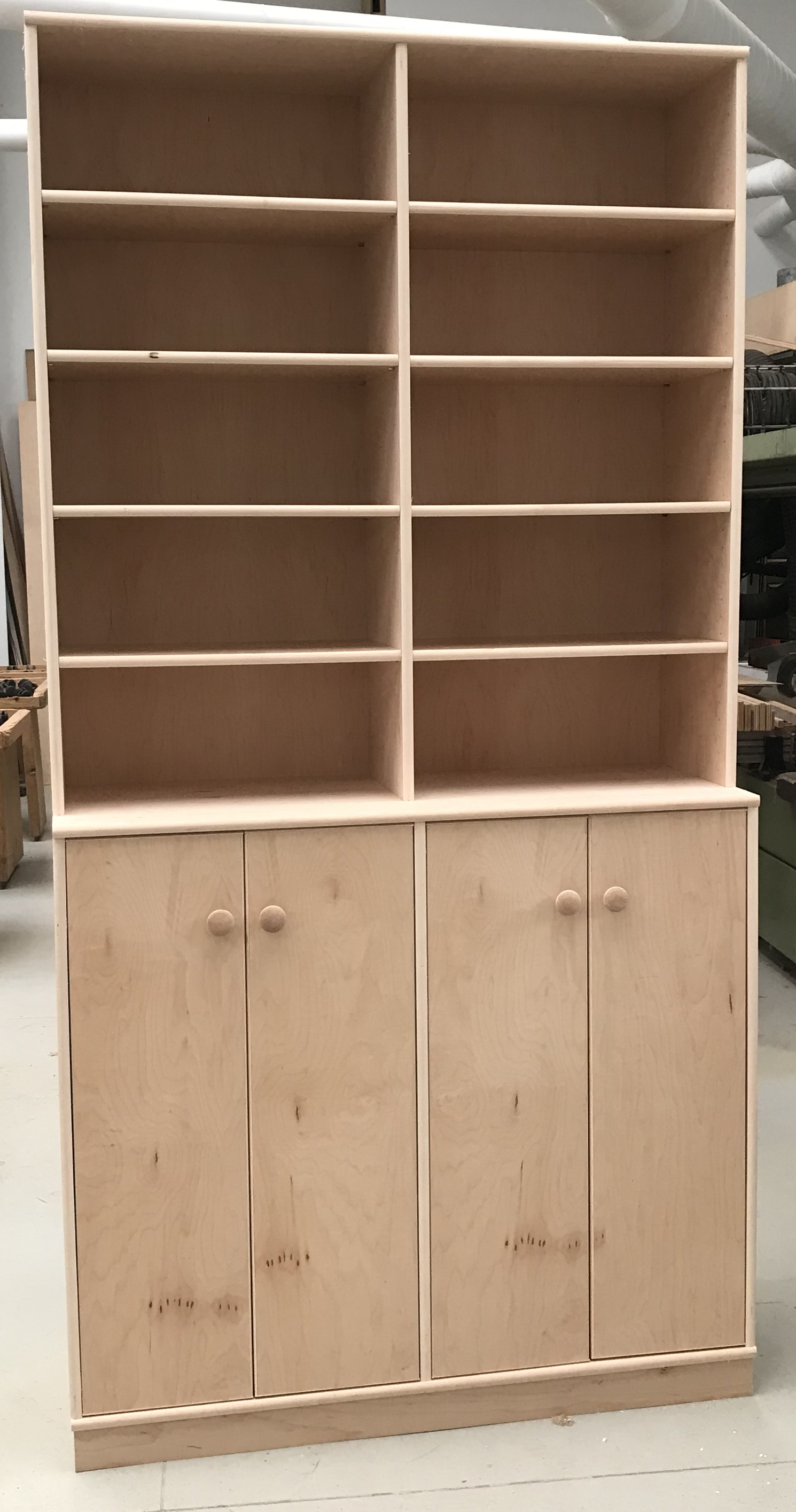 8 foot tall maple stereo cabinet showing slide shelf