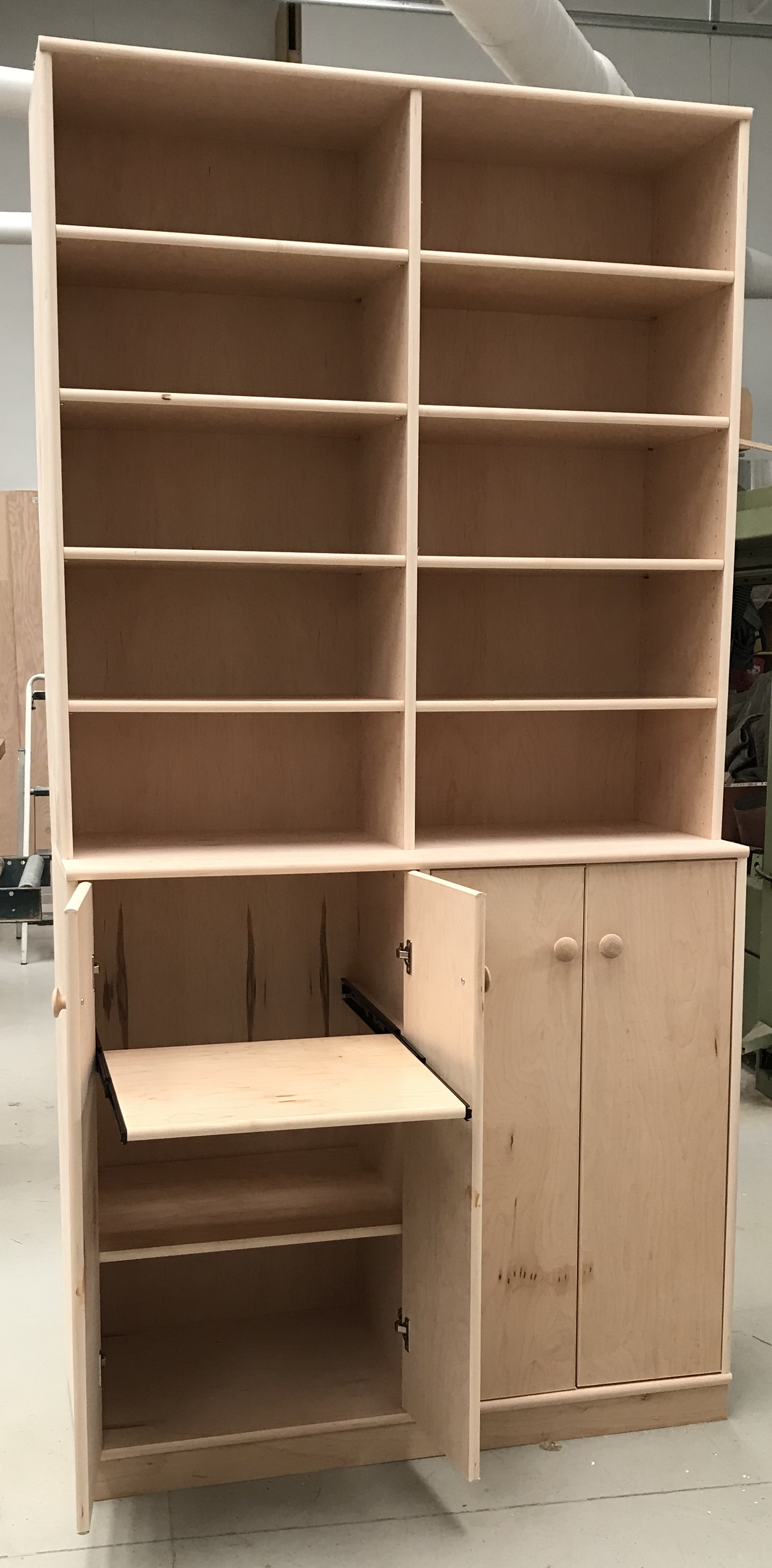 8 foot tall maple stereo cabinet