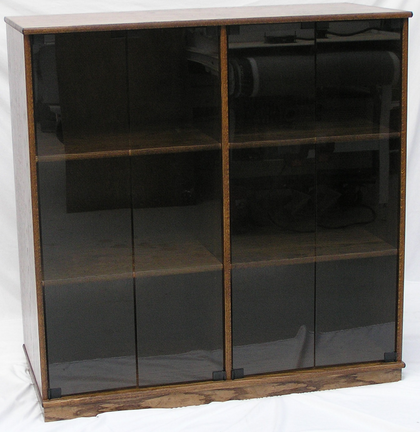 Entertainment center 45H x 22D in oak with glass doors. Finished in Minwax Provincial stain.
