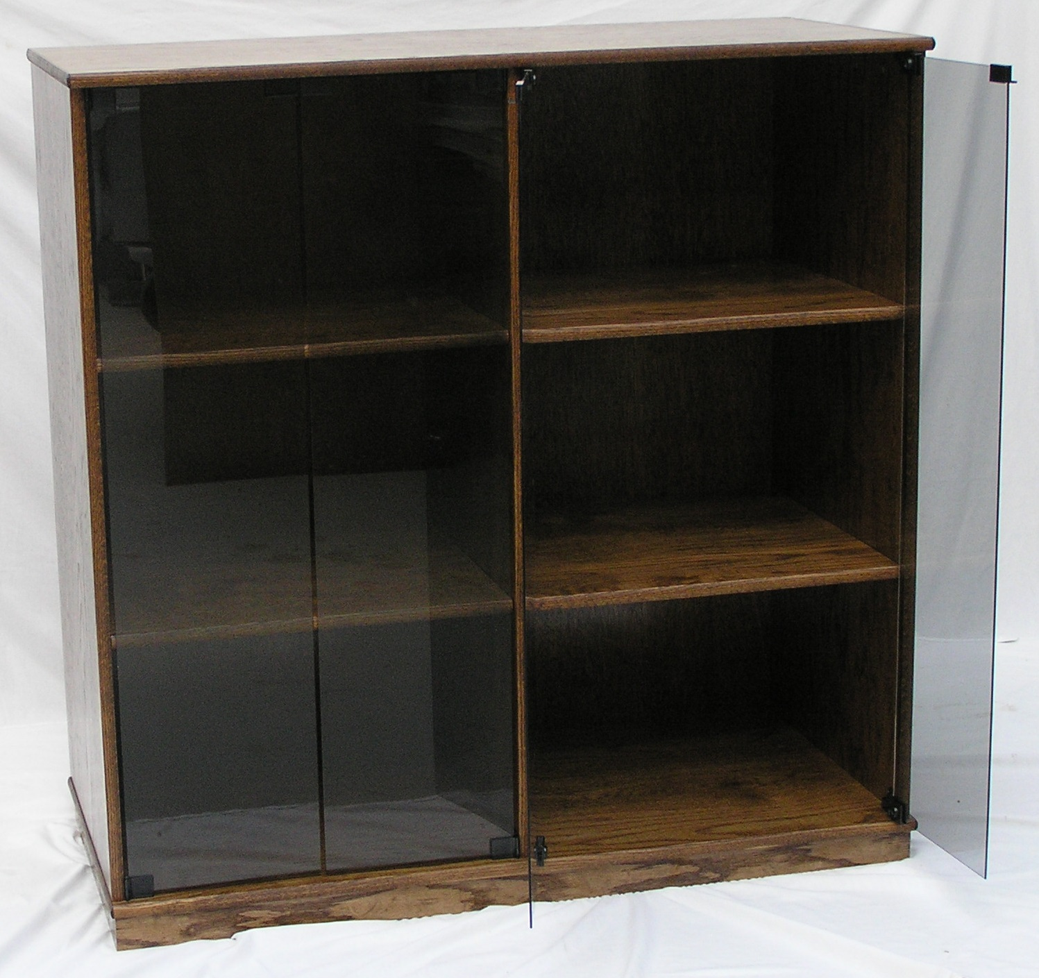 Entertainment center 45H x 22D in oak with open glass doors. Finished in Minwax Provincial stain.