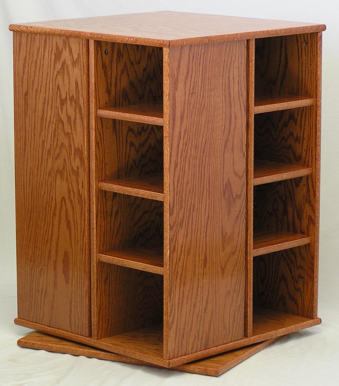swivel bookcase custom Minwax Gunstock finish by decibeldesigns.com