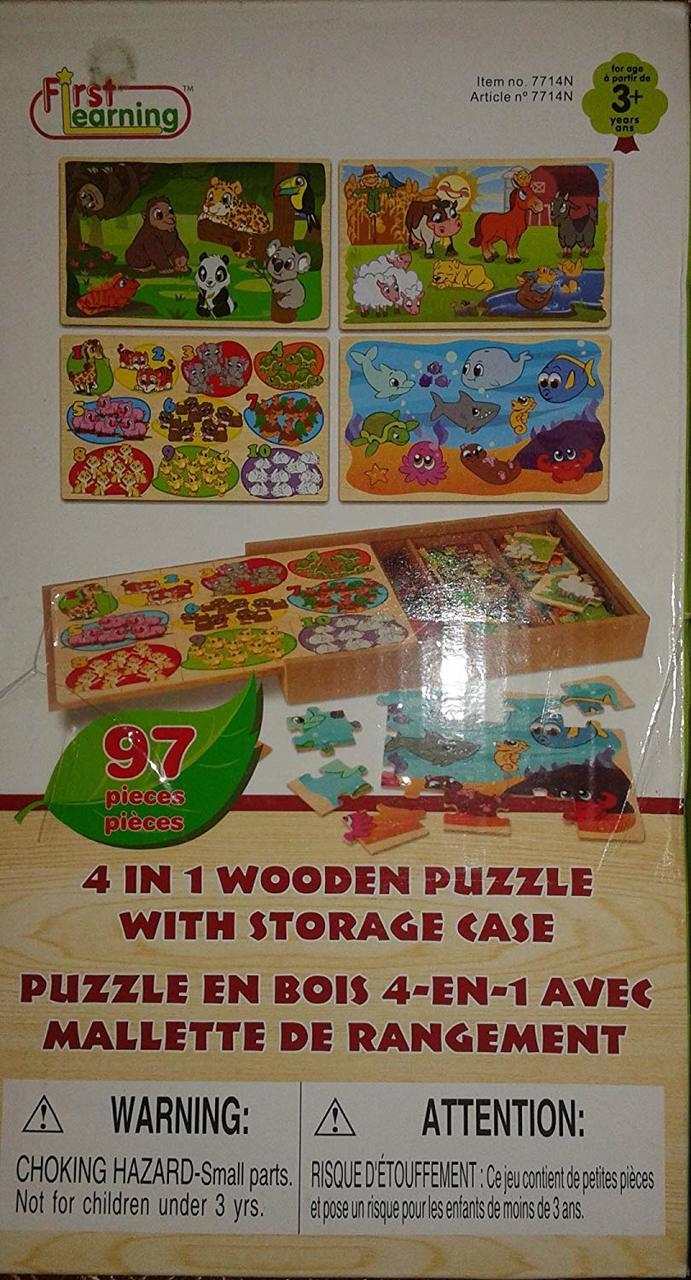 4In1 Wooden Puzzle W/Storage Case