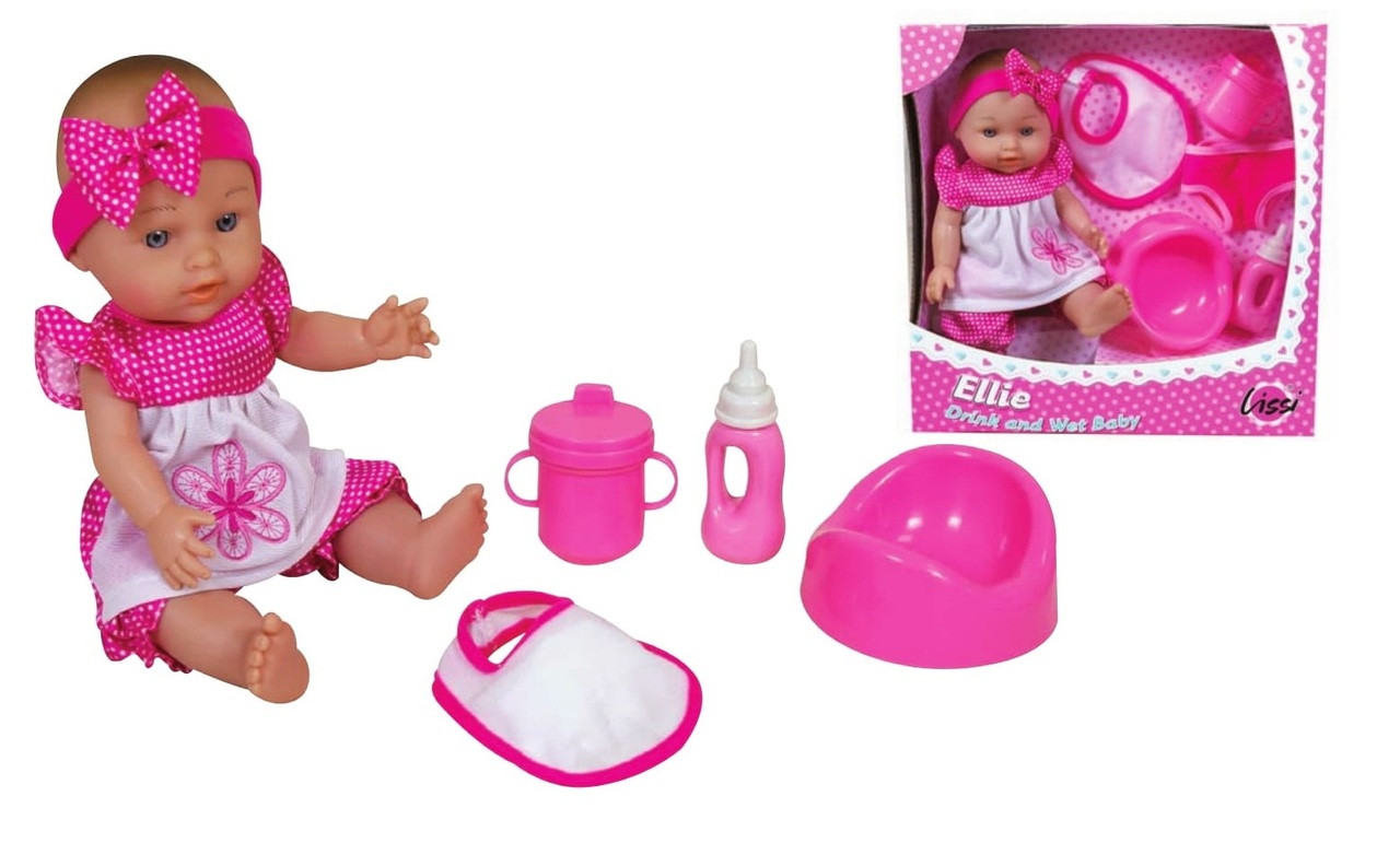 "28Cm / 11"" Drink And Wet Baby Set - Includes Pottie, Bottle, Cup, Diaper And Bib"