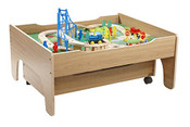 120 Pcs Reversible Wooden  City Train Table With Drawer