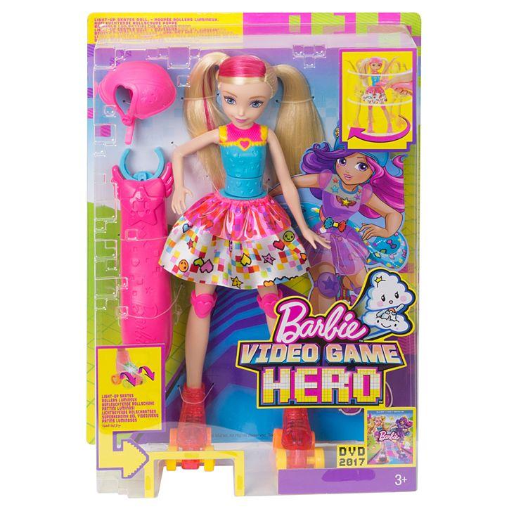 6a55b57754 Barbie Video Game Hero Lightup Skates Barbie Doll - Toymate
