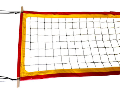 "Two-Tone-PBN4: 4"" Professional Volleyball Net Sewn in Two Colors"